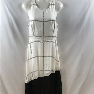 Line & Dot Long Dress White w/Black Sheer Bottom